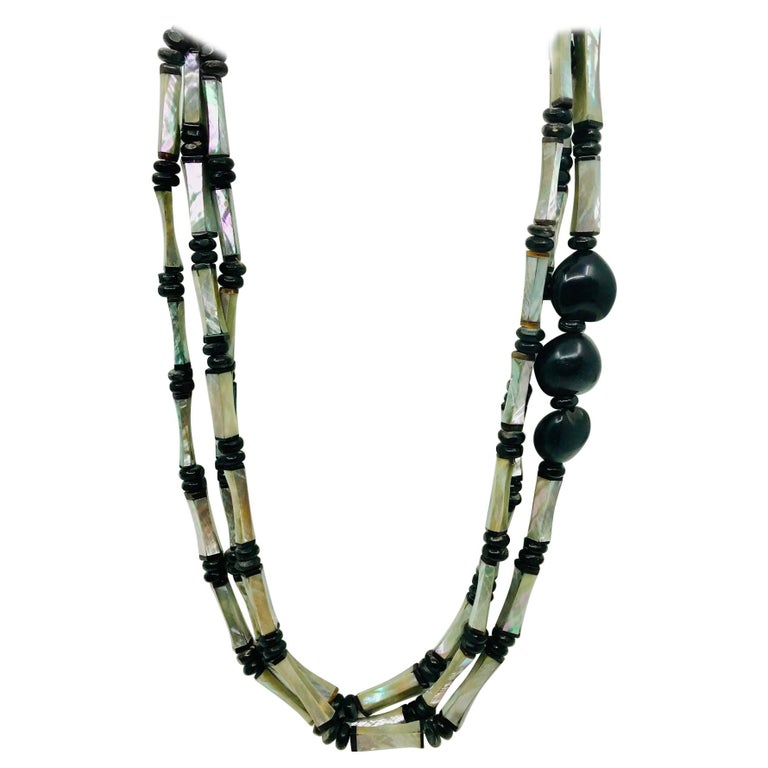 Sylvia Gottwald, Long 3 strand  Necklace with  Art Deco, Abalone beads For Sale
