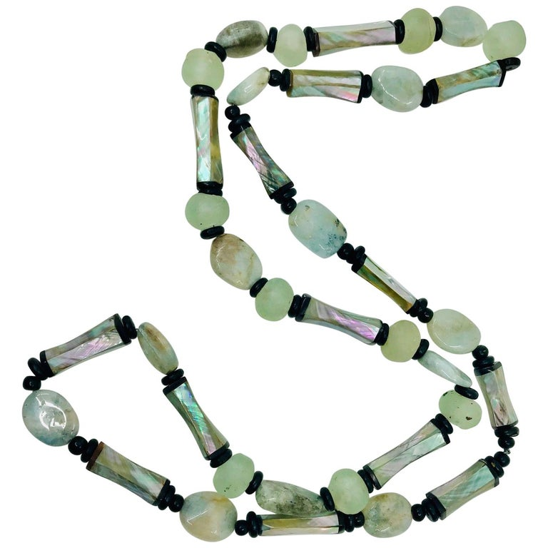 Sylvia Gottwald, Long Haliotis /Abalone and Glass beads Statement Necklace For Sale