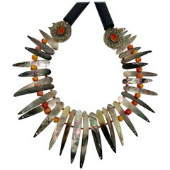 Sylvia Gottwald, Mother of Pearl, black iridescent, Statement Necklace
