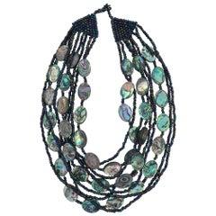 Sylvia Gottwald, Multi strand, Haliotis/Abalone beads Statement Necklace&Earring