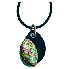Sylvia Gottwald, Paua shell Pendant with black Resin.