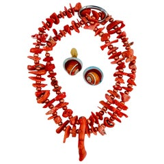 Sylvia Gottwald, Red Coral & blood orange Pearls Necklace, 2 strand with Pendant