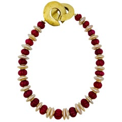 Sylvia Gottwald, Ruby beads and Pearl Choker Necklace