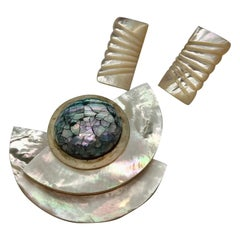 Sylvia Gottwald, white Mother of Pearl/Abalone Brooch