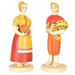 Sylvia Hood Original Vintage Harvest Couple Chalkware Figurines, circa 1960-1965
