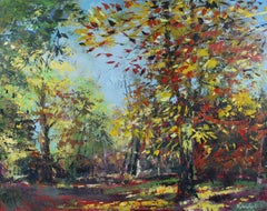 Autumn Sunshine - original forest seasonal Landscape oil painting abstract