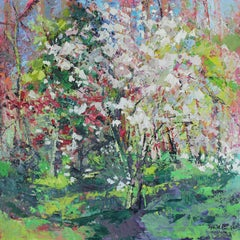 Blossom in the woods original floral Landscape painting Contemporary Art