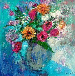 Blue Vase and Summer Flowers - still life floral painting Contemporary Art