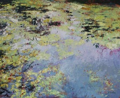 Calm Pond - original landscape water painting Contemporary Art 21st C modern