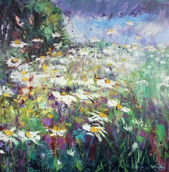 Daisy Meadow original Landscape painting Contemporary Art 21st Century