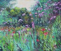 Dazzling Summer Garden - abstract Landscape painting modern 21st Century floral