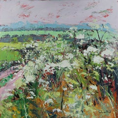 Footpath in Early Summer - original landscape floral painting Contemporary Art