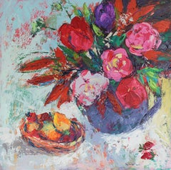 Fruit Basket and Spring Flowers - original still life painting Contemporary Art