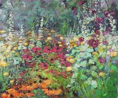 Glorious Garden original landscape painting Contemporary Art 21st century