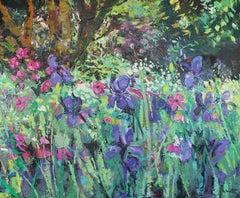 Iris Garden original floral Landscape oil painting Contemporary Art