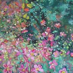 Japanese Anemone - floral landscape painting contemporary Art 21st century