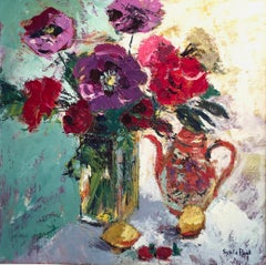 Oriental Teapot & Flowers - still life floral painting modern Contemporary Art