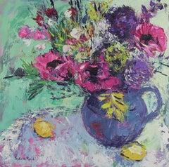 Pink Garden Poppies original still life painting contemporary Art 21st Century