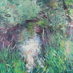 Riverside in Spring - impressionist abstract landscape oil artwork Contemporary