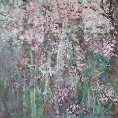 Spring blossoms original floral Landscape painting Contemporary Art 21st century