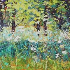 Spring Meadow-original floral landscape painting Contemporary Art 21st century