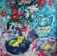 Still Life with Flowers - original everyday oil artwork abstract Contemporary