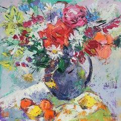 Summer Garden original landscape Stilllfe painting Contemporary Art 21st century