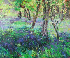 Sunshine and Bluebells  landscape painting Contemporary Art 21st century