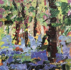 Sweet Bluebell Wood-Abstract floral Landscape Oil Painting contemporary Art