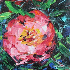 Sweet Little Peony - Abstract Miniature Floral Oil Painting Contemporary Art