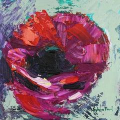Sweet Little Poppy - Abstract Flower Mini Textured Oil Painting Modern Art