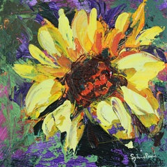 Sweet Little Sunflower - Textured Miniature Floral Oil Painting Contemporary Art