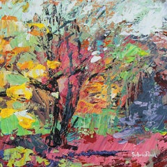 Sweet Little Woodland - abstract mini Landscape floral oil painting Modern Art