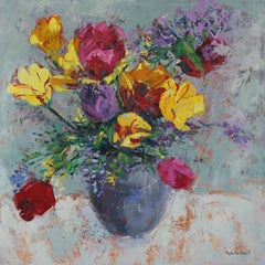 Tulip Collection - original abstract still life painting Contemporary modern