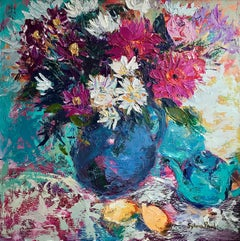Vase of Flowers with Lemons - colourful flowers oil artwork modern Contemporary