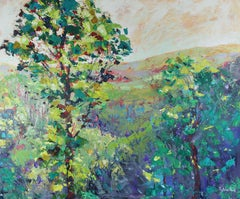 Welsh Valley - Britain countryside trees spring abstract painting Contemporary