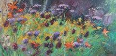 Wild Garden original floral Landscape oil painting Contemporary Art