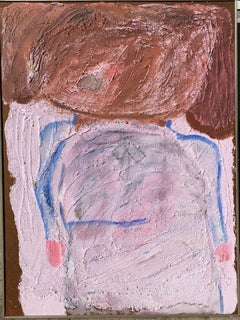 "1950s ""The Schoolgirl"" Oil and Sand Figurative Painting NYC Brooklyn Museum"