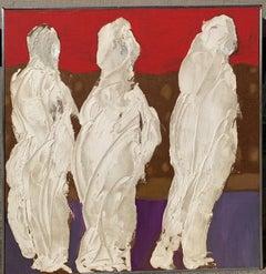 "1950s ""Three Kings"" Oil Impasto Figurative Painting NYC Brooklyn Museum Artist"