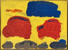 "1950s ""Traffic"" Oil and Sand Abstract Painting NYC Brooklyn Museum"