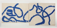 "1960s ""Blue Abstract"" Diptych Continuous Line Painting NYC Brooklyn Museum"