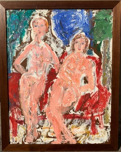 """1960s """"Two Women"""" Abstract Expressionist Female Artist Oil Impasto Painting"""