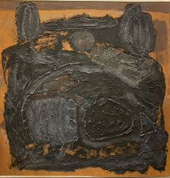 "1960s ""Vietnam"" Oil and Sand Abstract Painting Art Brut NYC Brooklyn Museum"