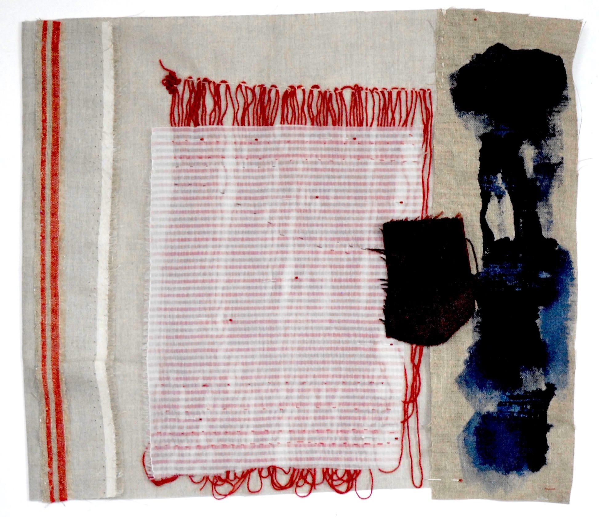 """Sylvia Schwartz 4, 2018, fabric, silk, wool, 14""""H x 13""""W"""