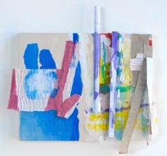 "Sylvia Schwartz 8, 2018, wood, fabric, plastic, 11"" x 11.5"" x 2"""