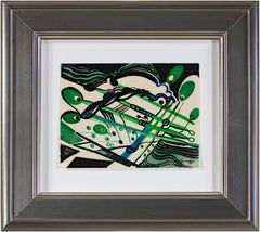 """""""Art Deco Abstract,"""" Watercolor in Green, Black, and Blue by Sylvia Spicuzza"""