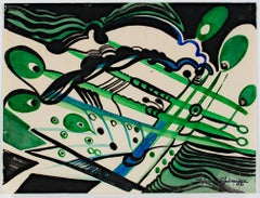 """Art Deco Abstract,"" Watercolor in Green, Black, and Blue by Sylvia Spicuzza"