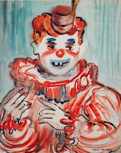 """Clown Close Up,"" watercolor by Sylvia Spicuzza"