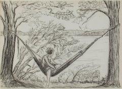 """Girl in Hammock - Big Cedar Lake,"" graphite drawing by Sylvia Spicuzza"
