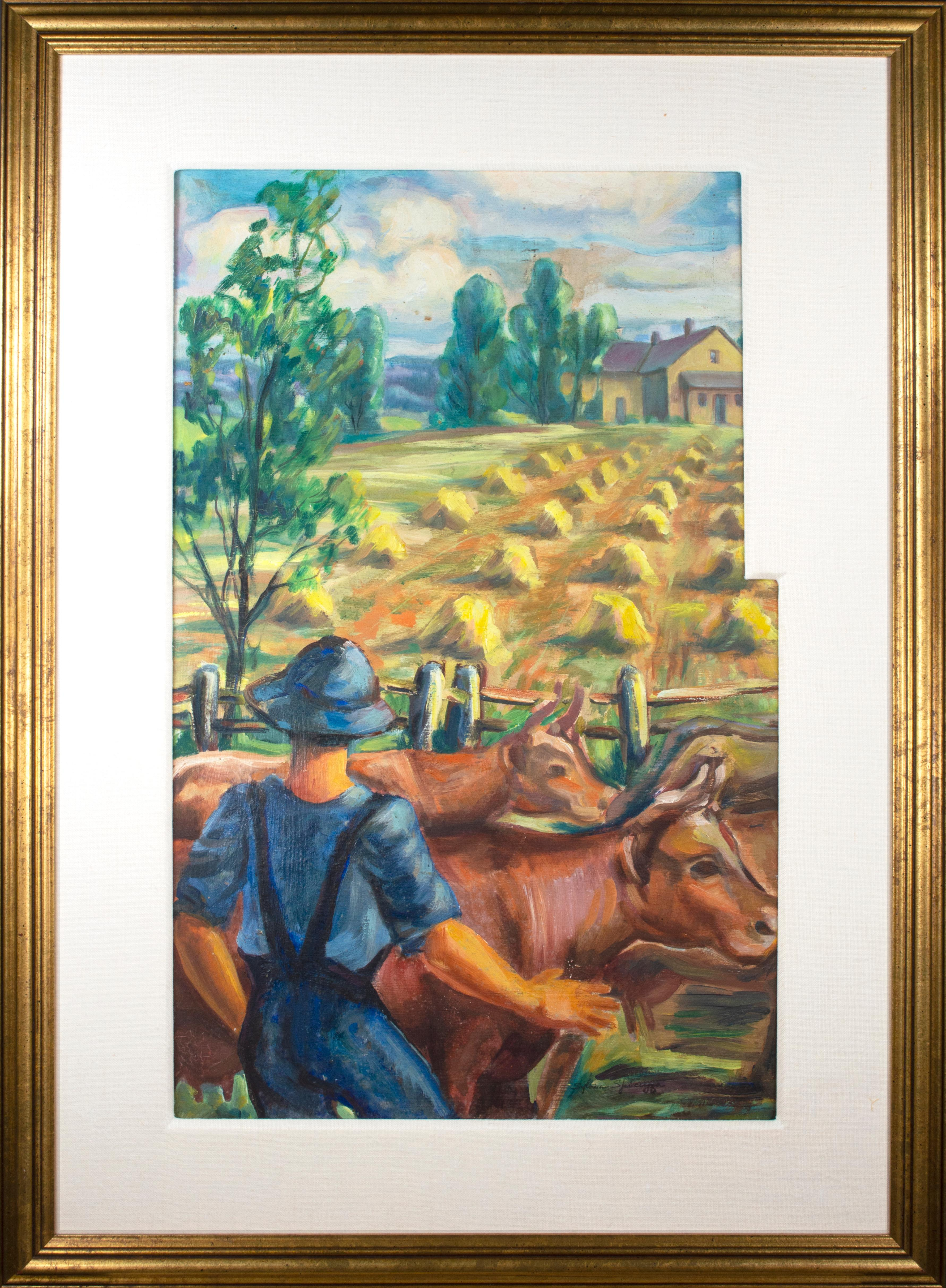 'Farmer with Cows' original Regionalist painting on board Midwestern landscape